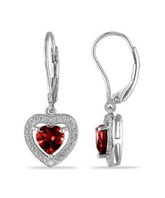 This Diamond, Garnet & Sterling Silver Heart Leverback Earrings is perfect! #zulilyfinds