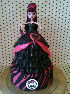 I used a 5, 6 round cakes plus an extra cupcake for the top of her dress and then a 8 for the base. It was a chocolate and pink buttercream filling.