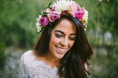 A long-sleeved Mariana Hardwick wedding gown and her pretty flower crown   I Take You #floralcrown #weddingdress