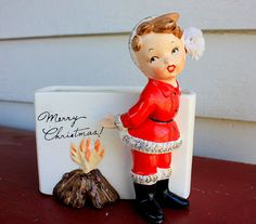 Vintage Santa Girl by Campfire Merry Christmas Planter Vase