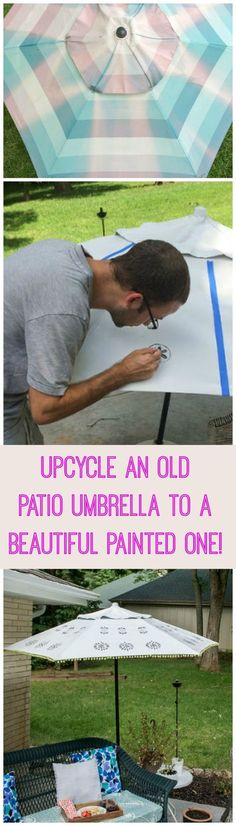 Upcycle an old patio umbrella to a beautiful painted one http://www.hometalk.com/l/cQK