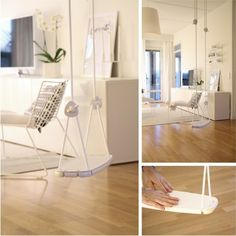 White Lillagunga swing with white leather cover