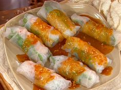 Pork and Shrimp Spring Roll (Goi Cuon) with Peanut Sauce (Nuoc Leo) recipe from Emeril Lagasse via Food Network