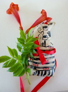 cat primitive Chriistmas gift textile toy  soft by CuteGiftStudio