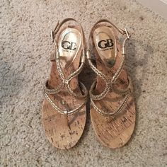 Gianni Bini gold sandal wedge These beautiful sandal wedges have only been used once to a beach wedding! They are in excellent condition. Comes with box Gianni Bini Shoes Wedges