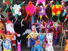 The star shape, or ball with points, still remains popular for the Christmas season, but for other events, traditional designs for children such as donkeys, have almost entirely been replaced by cartoon characters based on U.S. movies and television shows.[15] However, most of the piñatas produced based on these images are not done following copyright law, which has caused problems. Copyright holders such as Marvel Comics have complained about infringement by piñata makers in Mexico. Federal…
