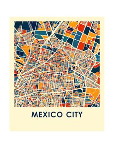 Ciudad de México mapa imprimir mapa afiche a todo Color Maps Design, Design Design, Design Thinking, Mexico City Map, City Map Poster, Map Posters, City Illustration, Building Illustration, Vintage Maps