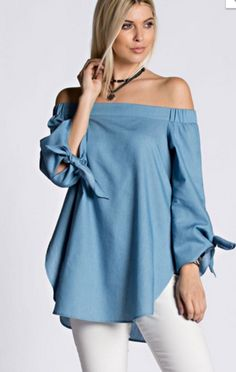 New Casual fashion Sexy Women Off Shoulder Tencel Cotton Blouse Bow Long Sleeve Shirt Split Summer Cold Shoulder Blouse Tops Cold Shoulder Blouse, Off Shoulder Tops, New Casual Fashion, Womens Fashion, Denim Top, Fashion Fabric, Casual Outfits, Street Style, Clothes For Women
