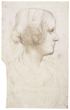 Leonardo da Vinci -  Portrait of a young woman in profile  c.1490 Metalpoint on pale buff prepared paper   32.0 x 20.0 cm