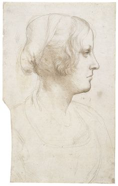 Leonardo da Vinci -  Portrait of a young woman in profile  c.1490 Metalpoint on pale buff prepared paper | 32.0 x 20.0 cm