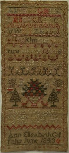 EARLY 19TH CENTURY SAMPLER BLY ANN ELISABETH GRIFFITHS 1843