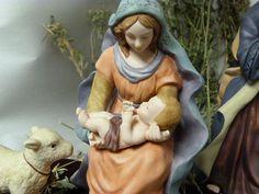 Vintage hand painted porcelain nativity scene by cgraceandcompany
