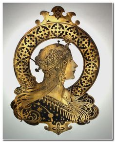 """Brass or bronze thin sheet Art Nouveau engraved plaque after a design by Alphonse Mucha """"Zodiac"""", circa 1900. the metal patinated in low relief. 23 inches /58 cm long 16 inches / 40.5 cm wide"""