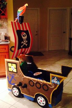 Pirate ship for Halloween made out of a wagon