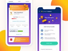 Play & Earn by Rajesh on Dribbble Quiz Design, Web Design, Sticker App, Card Ui, Android App Design, Redeem Points, Reward System, User Interface Design, Game App