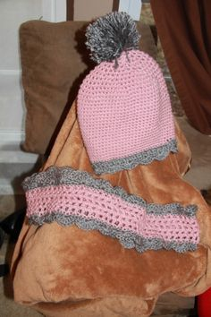 Pink Slouch Hat and Matching Infinity Scarf