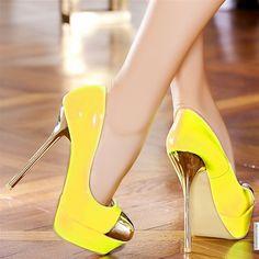 Yellow High Heel Pumps