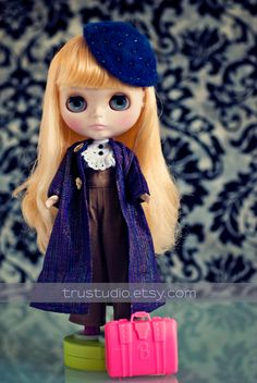 Blythe Hat French blue beret 16 doll accesories by TruStudio, $23.00