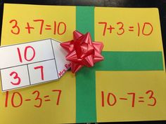 Fact family present: Another first grade teacher shared this idea with me. It was a fun way to work on related and turn around facts and part/part whole. multiplication and division facts Elementary Math, Kindergarten Math, Math Resources, Math Activities, Math Games, Math Crafts, First Grade Teachers, Teaching First Grade, Teaching Reading