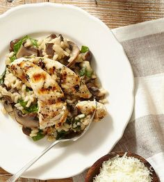 Sauteed cremini mushrooms give this risotto more flavor than common white mushrooms, and spinach adds a few extra nutrients:http://www.bhg.com/recipes/chicken/chicken-breast-recipes/chicken-breast-recipes/?socsrc=bhgpin043014chickenwithmarsalarisotto&page=6