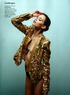 Chloe Lecareux in sequin jacket by Roberto Cavalli, photographed by Gregor Collienne for Elle Belgium April 2012.