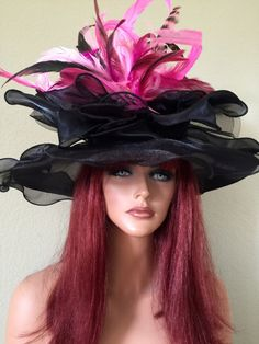 Black Pink Wide Brim Kentucky Derby Hat Wedding By Jeniferbuckley