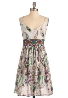 Paisley Days of Summer Dress - Mid-length, Orange, Green, Blue, Purple, Empire, Spaghetti Straps, Casual, Multi, White, Floral, Paisley, Summer