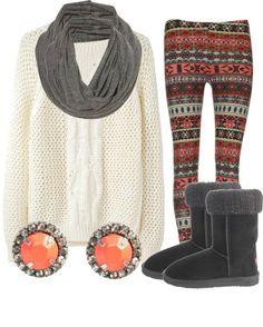 Winter Print Leggings. Legging Outfits, Fall Winter Outfits, Autumn Winter Fashion, Top Mode, Casual Outfits, Cute Outfits, Winter Stil, Cozy Winter, Printed Leggings