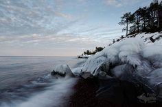 Lake Superior's icy splashing.