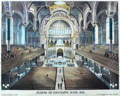 BERLIN Neue Synagoge Innenraum Winckelmann Kolorierte Lithografie 1870