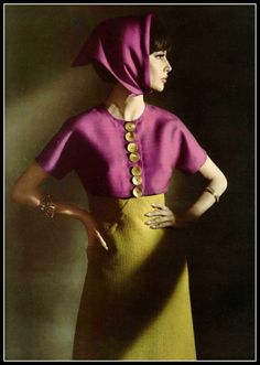 Katherine Pastrie is wearing chartreuse linen dress with fuschia linen bolero, by Grès, photo by Pottier, 1963
