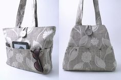 borsa grigia, borsa a tracolla,, borsa in tessuto, borsa con le tasche, sacchetto di tote, borsa floreale, borsa grigia