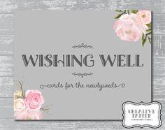 Peony Flower Wishing Well Sign 8x10 DIY Wedding by CreativePapier, $5.00