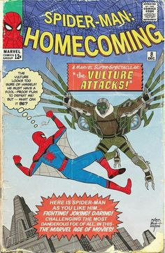 awesome spider-man homecoming comic book cover by Elm City Thwip Comic Book Covers, Comic Books, Dc Comics, Disney Toms, Amazing Spiderman, Spiderman Art, Comic Games, Spider Verse, Vintage Comics