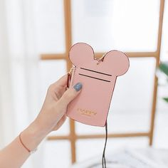 Cute Mickey Mouse Shape Card Holder Wallet Purse Neck Bag for Women Purse Wallet, Pouch, Coin Purse, Lanyard Id Holder, Cute Mickey Mouse, Disney Day, Canvas Handbags, Branded Bags, Luxury Bags