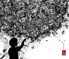 This picture shows all of the possibilities that technological waste can be. Whatever your imagination comes up with, there is always something that you can do with your disposed technology. For me, I love seeing technology scrap art! Enjoy!