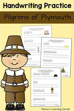 Pilgrims at Plymouth free Handwriting Practice