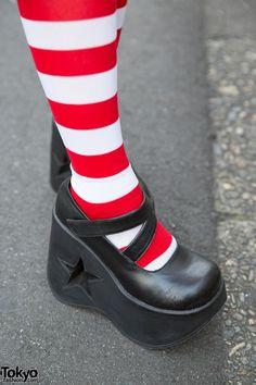 tokiofashion, Lisa13: red/white striped socks in maryjane platforms with stars in the heel