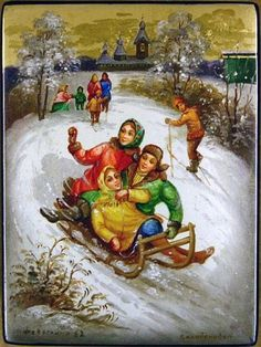 Russian lacquer miniature from the village of Fedoskino. Merry winter holidays in a Russian village.