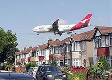 Noise pollution is the disturbing or excessive noise that may harm the activity or balance of human or animal life. The source of most outdoor noise worldwide is mainly caused by machines and transportation systems, motor vehicles, aircrafts, and trains. A Boeing 747-400 passes close to houses shortly before landing at London Heathrow Airport