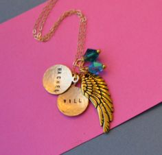 Gold Wing Two Disc Name Charm Necklace by SeaSaltShop on Etsy, $37.00