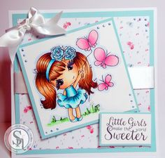 Clairebears x - Scruffy Little Kitten Stamp - Tillie and Little Girls Make the World Sweeter. Scruffy Little Kitten CD – Design 1 colour 1. Spectrum Noir Pens/Pencils: Skin FS2, 3 TN2, 3 9, 42, 89; Dress IB1, 2, 3 BT5  63, 55; Hair TN3, 5, 7, EB8, 100, 110; Butterflies PP2, 4, 5; Sky TB1; Grass LG4, CG4. Neenah Card. Core'dinations card stock - #crafterscompanion #spectrumnoir