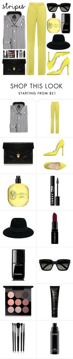 """Yellow and Black Stripes"" by saraishi ❤ liked on Polyvore featuring English Laundry, Emilio Pucci, J.Lindeberg, Marc Ellis, Diptyque, LORAC, Maison Michel, Smashbox, Chanel and Yves Saint Laurent"