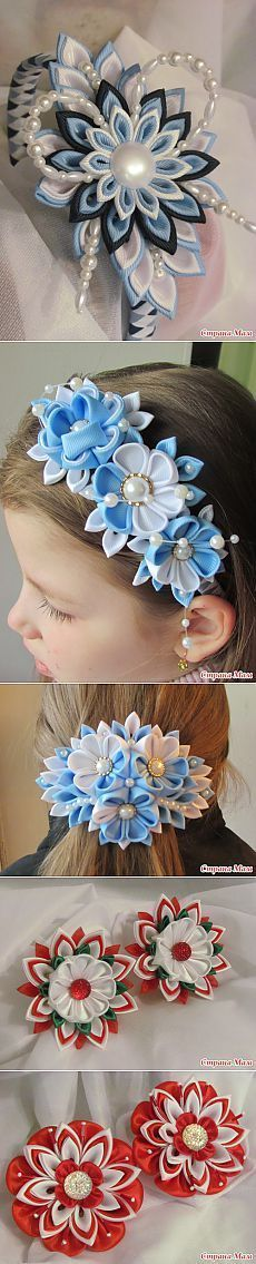 Handmade flowers with and without headbands Ribbon Art, Diy Ribbon, Fabric Ribbon, Ribbon Crafts, Flower Crafts, Ribbon Bows, Ribbon Flower, Ribbons, Blue Ribbon