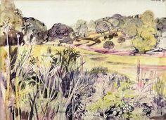John Minton. 'Landscape near Missenden'. Watercolour and ink on paper. 1951.