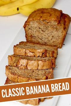 This Classic Banana Bread recipe turns out perfect every time. It's crisp on top, moist in the middle and perfectly sweetened throughout, with tons of banana flavor in every bite. Everyone goes bananas over it! #bananabread #breadrecipe