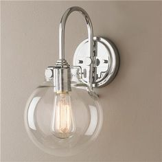 Retro Glass Globe Wall Sconce in Polished Chrome; $139 each