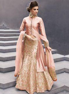 Peach designer indowestern dress