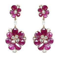 Extraordinary Pear-Shaped Ruby Diamond Earrings | From a unique collection of vintage chandelier earrings at https://www.1stdibs.com/jewelry/earrings/chandelier-earrings/