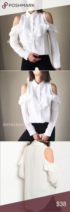 """ON SALE Olivia ruffle button down shirt. Tasteful Olivia white ruffle cold shoulder shirt. Soft silky top with collar. Size S : bust 36"""", length 27"""" w:38"""". Size M bust 37"""", length 27"""" w: 39"""", size L: bust 38"""", length 28, w40"""". 👉🏼Follow me on  📸INSTAGRAM: @chic_bomb  and 💁🏻📘FACEBOOK: @thechicbomb CHICBOMB Tops Button Down Shirts"""